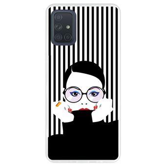 Capa Hapdey para Samsung Galaxy A71 | Silicone Flexível em TPU | Design Moda mulher no estilo pop art - Transparente