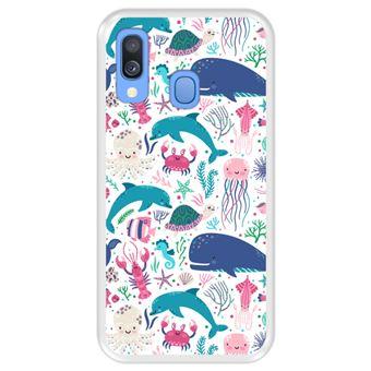 Capa Tpu Hapdey para Samsung Galaxy A40 2019 | Design Animais Subaquáticos | Algas e Corais - Transparente