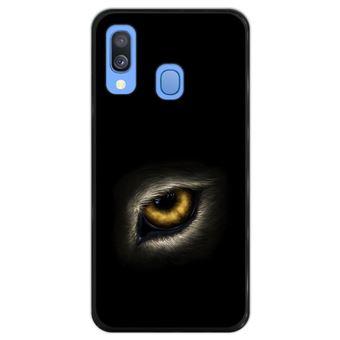 Capa Silicone Hapdey Para Samsung Galaxy A40 2019 Design Olho de Lobo Olhando Para Você Flexível Em TPU - Preto