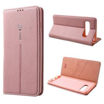 Capa Magunivers PU ranhuras para cartões de lithi Dourado rosa para Samsung Galaxy S10