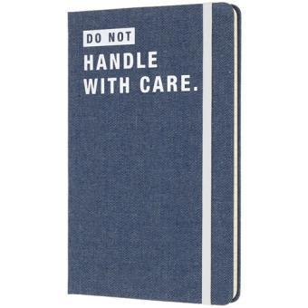 Caderno Pautado Moleskine Denim - Do Not Handle With Care Grande