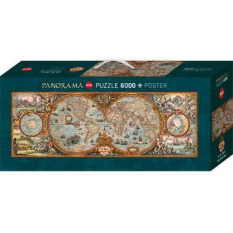 Puzzle Hemisphere Map - 6000 Peças - Heye
