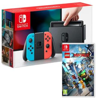 Pack Nintendo Switch 32GB Azul & Vermelho Néon + LEGO The Ninjago Movie VideoGame