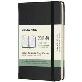 Agenda Semanal 18 Meses 2018-2019 Moleskine Horizontal Preto Bolso