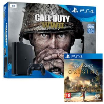 Pack Consola Sony PS4 1TB Black + Call of Duty WWII + Assassin's Creed Origins