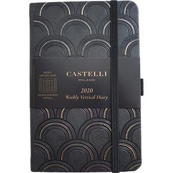 Agenda 12 Meses 2020 Castelli Milano Harris A6 Semanal Art Deco - Preto e Ouro