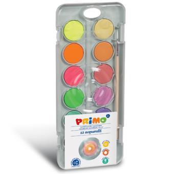 Aguarelas Primo com Pincel - 8 Cores Metalizadas + 4 Cores Fluor