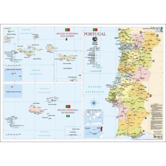 Mapa De Portugal Escolar Medio 2 Faces Folha Plastificada