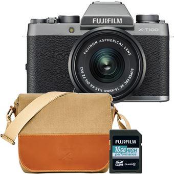 Fujifilm X-T100 + XC 15-45mm f/3.5-5.6 OIS PZ - Prateado + Bolsa + Cartão Memória