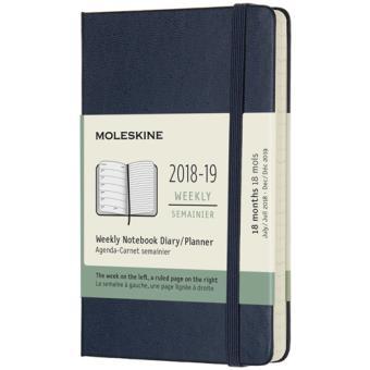 Agenda Semanal 18 Meses 2018-2019 Moleskine Notebook Azul Escuro Bolso