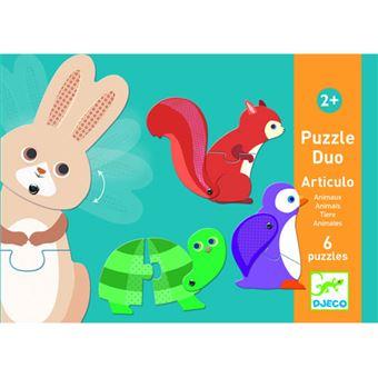 Puzzle Duo Articulo Animal - 12 Peças - Djeco