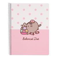 Caderno Pautado Microperforado Pusheen the Cat, Rose Collection - Balanced Diet, A4