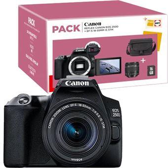 Pack Fnac Canon EOS 250D + EF-S 18-55mm f/4-5.6 IS STM + Bolsa + Cartão de Memória