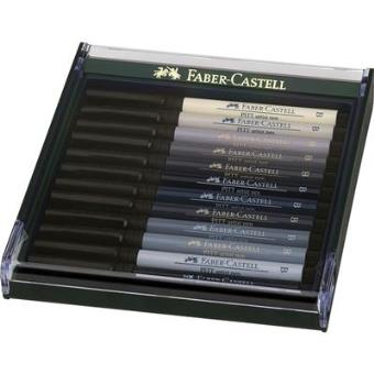 Canetas Faber-Castell Pitt Artist Pen Brush: Cinzentos - 12 Unidades