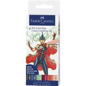 Marcadores Faber-Castell Pitt Artist Pens Comic Colouring Set 6 Unidades