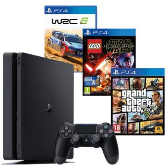 Pack Consola Sony PS4 Slim 1TB + GTA V + LEGO Star Wars: The Force Awakens + WRC 6