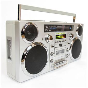 GPO Boombox Brooklyn Silver (CD/K7/FM/USB)