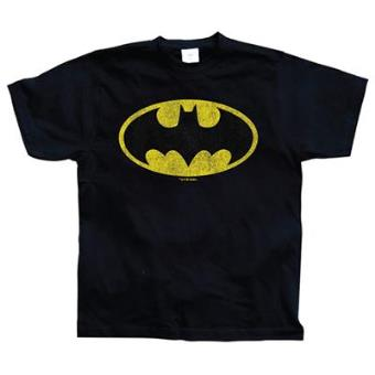 Batman - Distressed Logo T-Shirt Black (L)