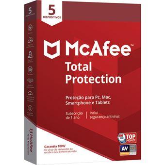 McAfee Total Protection - 5 Dispositivos - 1 Ano
