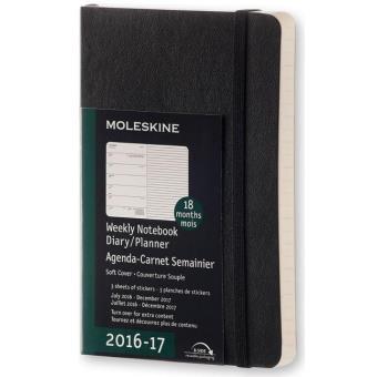 Moleskine: Agenda Semanal 18 Meses Soft Bolso Preto 2016/2017