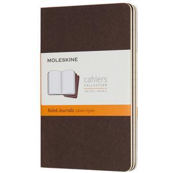 Cadernos Pautados Moleskine Cahier Bolso Castanho - 3 Unidades
