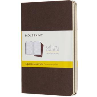 Cadernos Quadriculados Moleskine Cahier Bolso Castanho - 3 Unidades