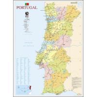 Mapa de Portugal Escolar Grande - 2 Faces - Plastificado de Parede
