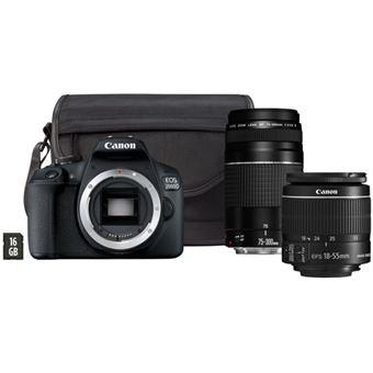 Canon EOS 2000D + EF-S 18-55mm f/3.5-5.6 IS II + EF 75-300mm f/4-5.6 III + Bolsa + Cartão SD