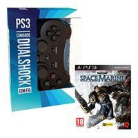 Pack Comando Dualshock Indeca com Fio + Jogo Space Marine - PS3