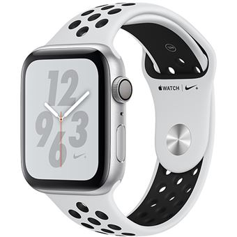 Apple Watch Nike+ Series 4 44mm - Alumínio Prateado | Bracelete Desportiva Nike - Platina Pura | Preto