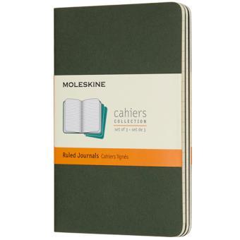 Cadernos Pautados Moleskine Cahier Bolso Verde - 3 Unidades