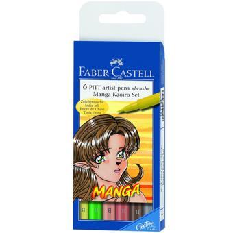 Canetas Faber-Castell Pitt Artist Pen Brush Tinta-da-China: Manga Kaoiro - 6 Unidades