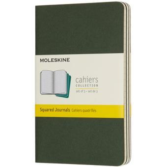 Cadernos Quadriculados Moleskine Cahier Bolso Verde - 3 Unidades