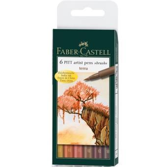 Canetas Faber-Castell Pitt Artist Pen Brush: Terra - 6 Unidades