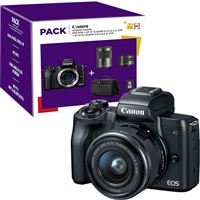 Pack Fnac Canon EOS M50 + EF-M 15-45mm f/3.5-6.3 IS STM + EF-M 55-200mm f/4.5-6.3 IS STM + Bolsa + Cartão SD