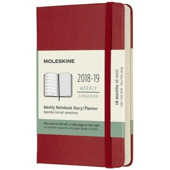 Agenda Semanal 18 Meses 2018-2019 Moleskine Notebook Vermeho Bolso