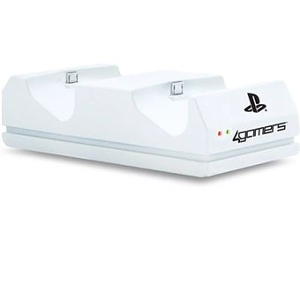 Carregador Duplo 4Gamers para Comandos PS4 - Branco