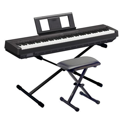 pack yamaha piano p 45 black suporte banco piano digital compre na. Black Bedroom Furniture Sets. Home Design Ideas