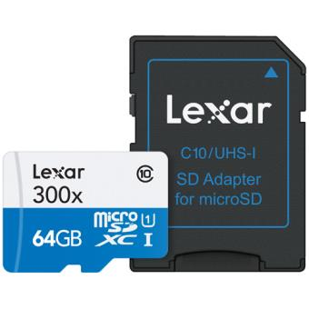 Cartão MicroSDXC Lexar High-Performance 300x - 64GB
