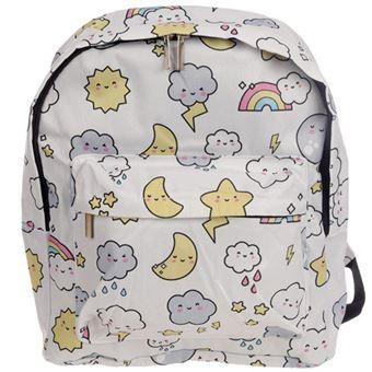 Mochila Escolar Pequena Kawaii Friends - Arco-Íris e Nuvens