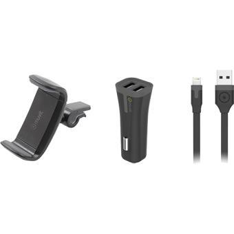 Pack Auto Muvit Suporte + Carregador Isqueiro + Cabo USB-Lightning