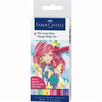 Marcadores Pitt Pen Pincel Faber-Castell - Manga Shôjo - 6 Unidades