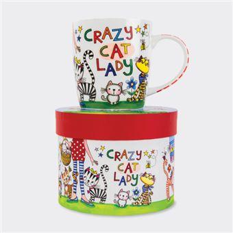 Caneca em Porcelana com Caixa Rachel Ellen - Crazy Cat Lady