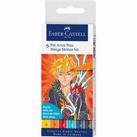 Marcadores Pitt Pen Pincel Faber-Castell - Manga Shônen - 6 Unidades