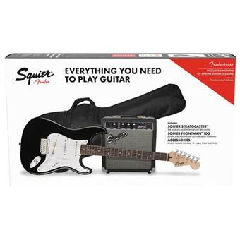 Pack Guitarra Eléctrica Squier Strat SSS BLK GB 10G