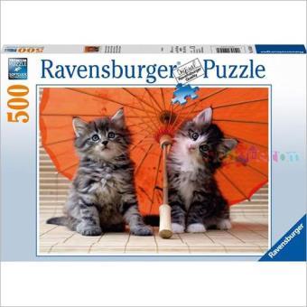 Puzzle Kittens Under an Umbrella (500 peças)