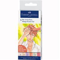 Marcadores Pitt Pen Pincel Faber-Castell - Manga Kaoiro - 6 Unidades