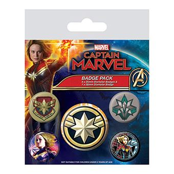 Conjunto de Pins Marvel: Captain Marvel