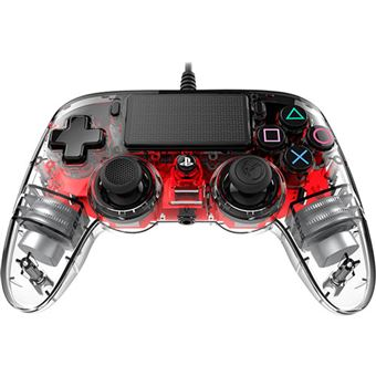 Comando com Fio Nancon para PS4 - Vermelho | Transparente