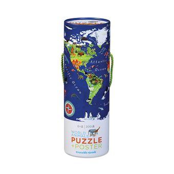 Puzzle + Poster Mapa do Mundo - 200 Peças - Crocodile Creek
